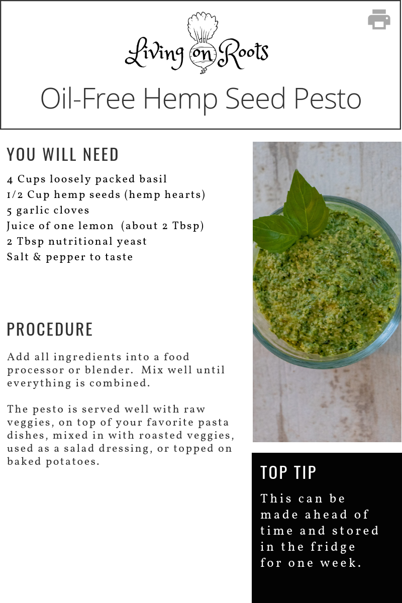 Oil Free Hemp Seed Pesto Living On Roots